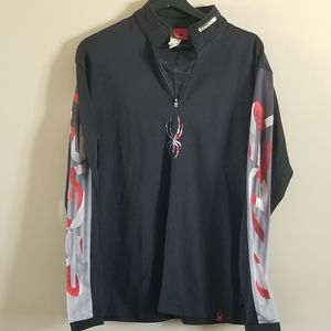 Spyder mens 1/4 zip with detailing on the sleeve